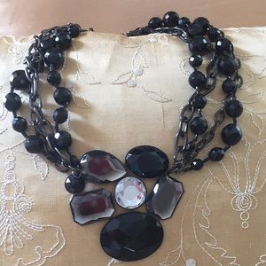 Black beaded floral necklace